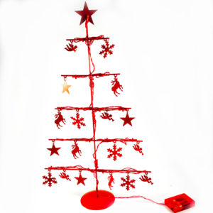 Kerstboom rood met led verlichting