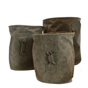Plant Basket Lederlook bruin set
