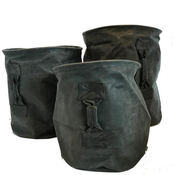 Plant Basket Lederlook zwart set