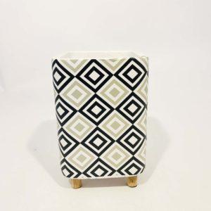 Potvaas cube - 19cm - grijs/wit