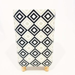 Potvaas cube – 25cm – grijs/wit